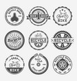 bicycle shop round labels badges emblems vector image