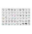 black set of smile icons emoji emoticons face vector image vector image