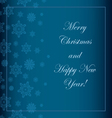 Blue Christmas background with snowflakes and a wi vector image vector image