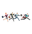 business people running with leader crossing vector image