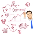businessman writing on whiteboard with red marker vector image vector image