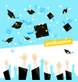 celebrating a graduation banner with student hands vector image vector image