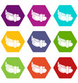 daily belt icons set 9 vector image vector image