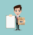 delivery men with box and white board vector image