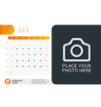 Desk Calendar for 2016 Year July Design Print vector image