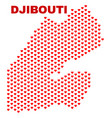 Djibouti map - mosaic of valentine hearts