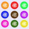 Euro EUR icon sign A set of nine different colored vector image