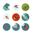 extreme sport flat icons set top view vector image vector image