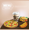 fast food cartoon background vector image vector image