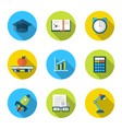 flat icons of elements and objects for high school vector image vector image