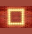 frame of retro light bulb on brick wall vector image
