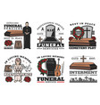 funeral service coffin urn cemetery tombstone vector image