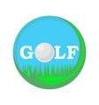 golf ball logo with stylized text isolated on vector image vector image
