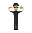 hacker data with money credit card thief cyber vector image vector image