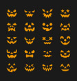 halloween face set flat design symbol collection vector image