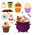 halloween party colorful sweets cupcakes lollipops vector image vector image