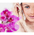 Hand Drawn Painting of a Womans Face and Flowers vector image