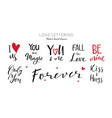 happy valentines day lettering collection vector image vector image