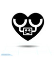 heart black icon love symbol robot in heart vector image vector image