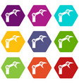 industry robot icon set color hexahedron vector image vector image