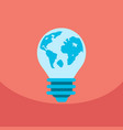 light save planet on ecology style lamp with map vector image vector image