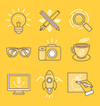 linear icons and signs vector image vector image