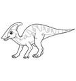 Little parasaurolophus cartoon bw