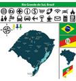 map of rio grande do sul brazil vector image vector image
