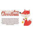 merry christmas postcard fox playing ball new year vector image