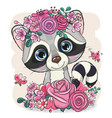raccoon with flowers on a white background vector image vector image