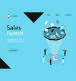 sales funnel concept banner card with elements vector image