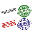scratched textured back to work seal stamps vector image vector image