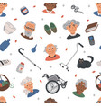 seamless pattern with old people portraits of vector image