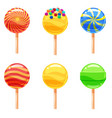 set of colorful lollipops sweet candies vector image