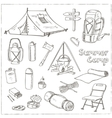 Set of hand drawn camping equipment drawings vector image