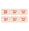Set of price tags red text on yellow textural