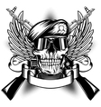 Skull in beret and two Kalashnikov guns vector image vector image