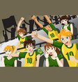 soccer fans in a stadium vector image vector image