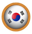 south korea flag on wooden frame vector image vector image