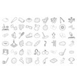 sport equipment icon set outline style vector image
