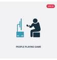 two color people playing game icon from vector image vector image