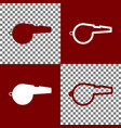 whistle sign bordo and white icons and vector image vector image
