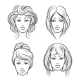 Womens faces with different hairstyles vector image