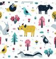 woodland animals seamless pattern in scandinavian vector image vector image