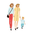 young family two moms and son together walking vector image vector image