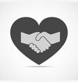 handshake and heart icon vector image