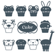 10 cakes set vector image