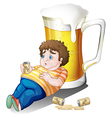 A fat boy with cans of beer near a big glass vector image vector image