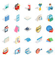 booklet icons set isometric style vector image