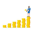 businesswoman holding trophy vector image vector image